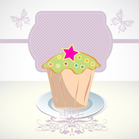 Card with cupcake and butterfly Vector
