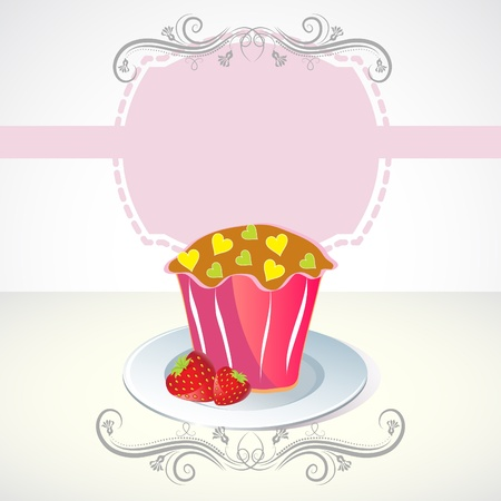 Card with cupcake and strawberry Vector