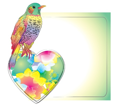 Colorful card with bird and heart for your design Stock Vector - 11656250