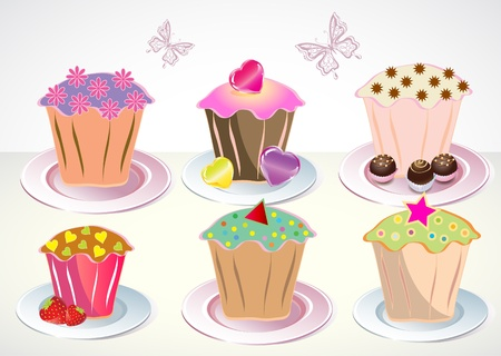 Set of 6 cute cupcakes on the plates Vector