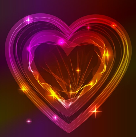 heart clipart: Background with bright beautiful abstract heart over dark