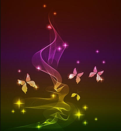 abstract background with butterfly over dark Vector