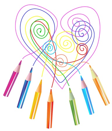 descriptive color: Background with color drawing pencils and heart over white