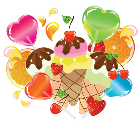 Background with sweets, fruit, berries and ice cream over white Vector