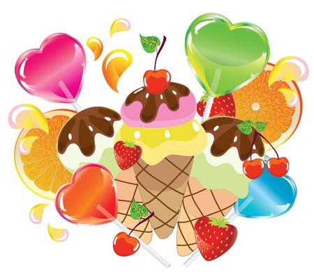 helados caricatura: De fondo con dulces, frutas, bayas y helado sobre fondo blanco Vectores