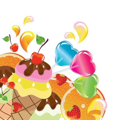 Hintergrund mit Süßigkeiten, Obst, Beeren und Eis über weißen