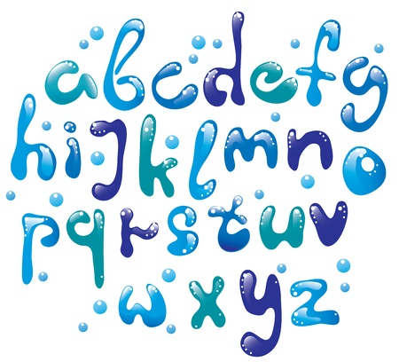 Cute glossy blue water alphabet  Vector