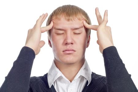 salud sexual: Hombre guapo con dolor de cabeza más de blanco Foto de archivo