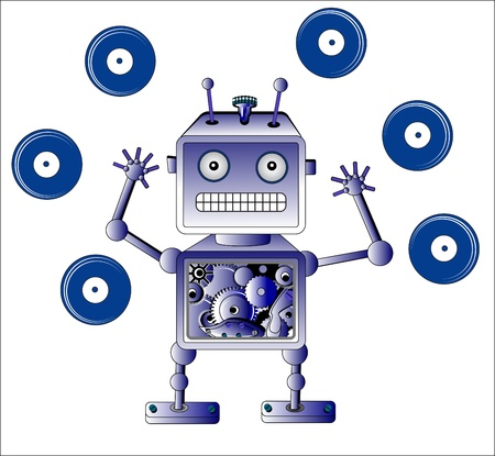 Blue robot toy with Vinyl records over white