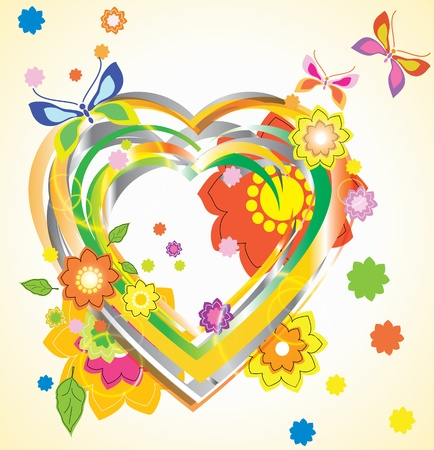 Colorful Valentine background with heart and flowers Stock Vector - 11830983