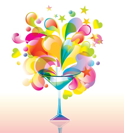 Color cocktail with great splash Vector