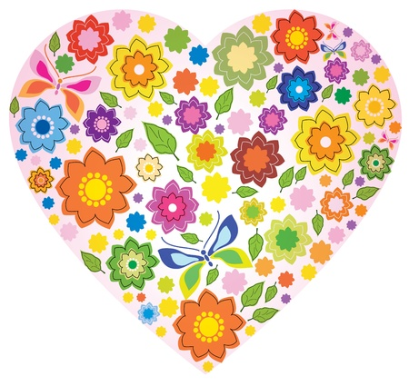 Floral colorful Heart and butterfly over white Stock Vector - 11830980