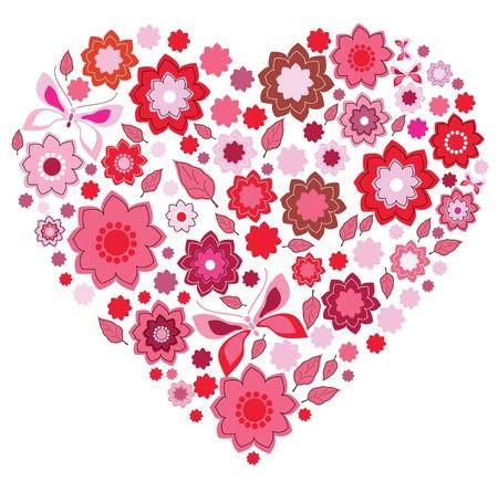 papillon rose: Floral coeur rose et le papillon sur fond blanc