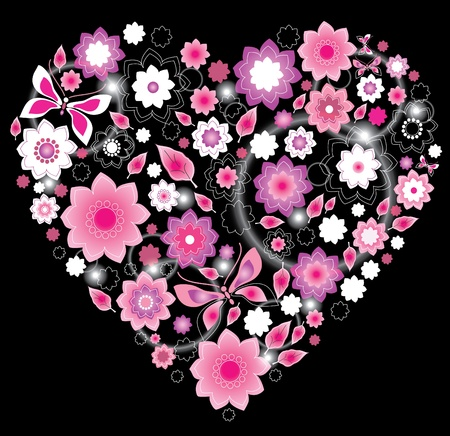 Floral bright pink Heart, Valentine background