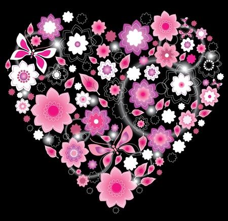 Floral bright pink Heart, Valentine background Vector