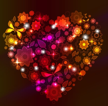 Floral bright Heart, Valentine background Stock Vector - 11830972