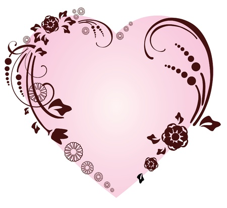 shapes: Beautifull heart with floral ornament, Valentine background