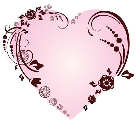 Prachtige hart met florale versiering, Valentine achtergrond Vector Illustratie