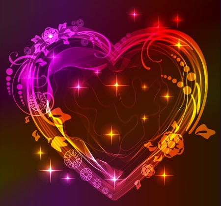 beautifull: Beautifull bright heart with floral ornament, Valentine background