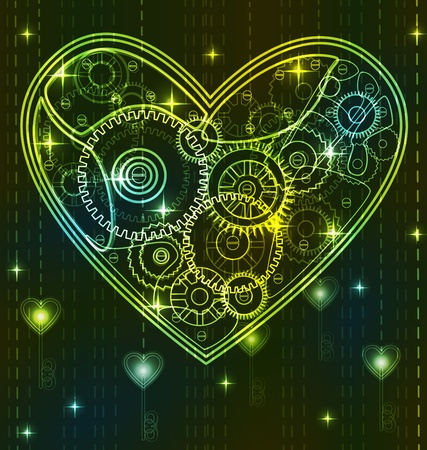 Mechanical black and green Valentine heart with key Vector