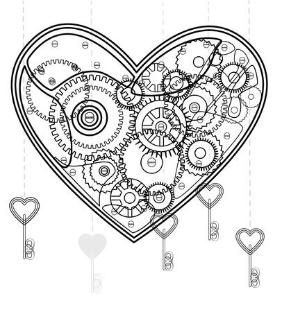 Mechanische zwarte Valentine hart over wit Vector Illustratie