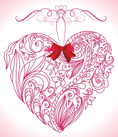 Beautiful pink floral heart Vector