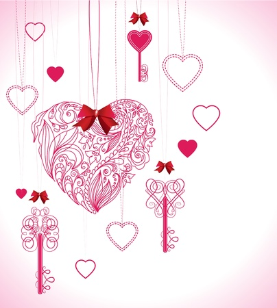 Pink beautiful Valentine background with keys and hearts Vector