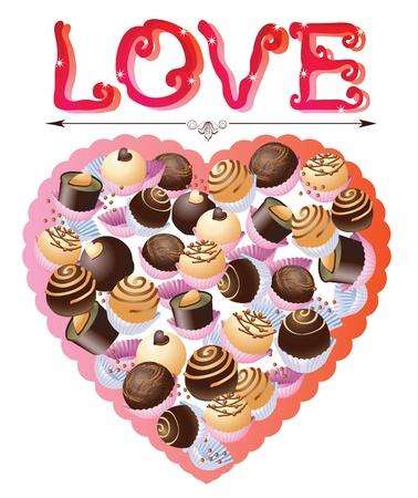 praline: Snoep hart, Valentine achtergrond