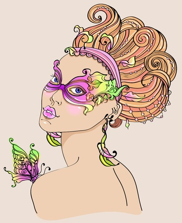 carnival costume: Beautiful young woman in carnival mask, bright illustration