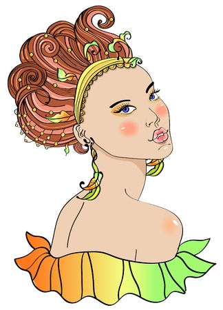 close up face: Beautiful young woman in carnival dress, bright illustration