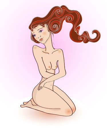naked woman sitting: Attractive girl with a naked body, beautiful Illustration Illustration