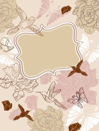 Valentine hand drawing floral background with place for text Vector