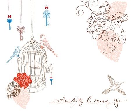 スクラップブッキング: バレンタイン手に鳥や花の背景を描画  イラスト・ベクター素材