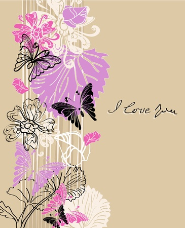 floral Valentine background with place for text Vector