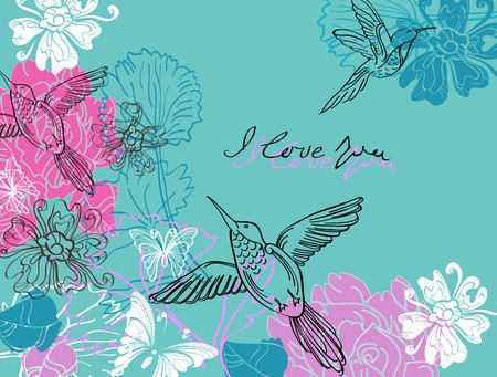 bird on branch: Valentine hand drawing blue and pink background with flowers