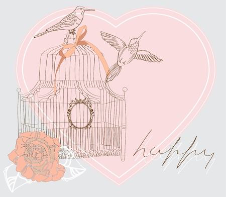 Valentine hand drawing background with birds, flowers and cage