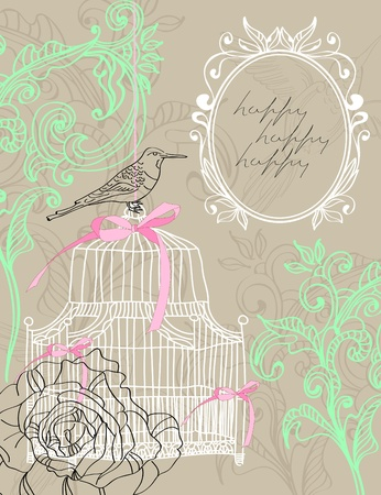 Valentine hand drawing light brown background with flowers and cage Illustration