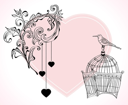 Valentine hand drawing light and tender background with flowers Vector