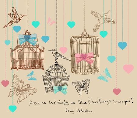 スクラップブッキング: バレンタイン手描きの背景にケージ、鳥  イラスト・ベクター素材