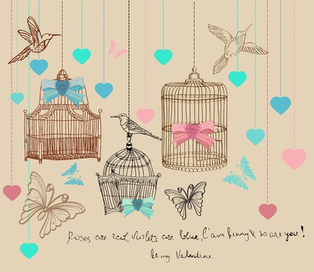 Valentine hand drawing background with cages and birds Vector