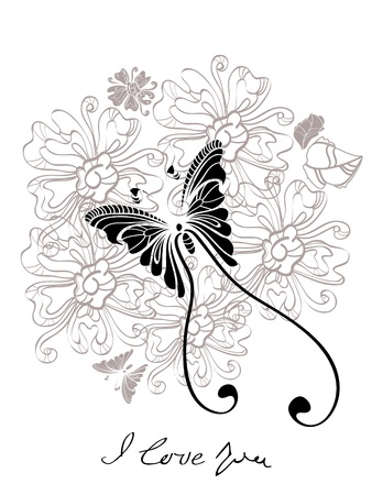 Valentine hand drawing black and white background Vector