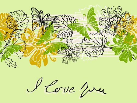 Valentine hand drawing background with flowers Vector