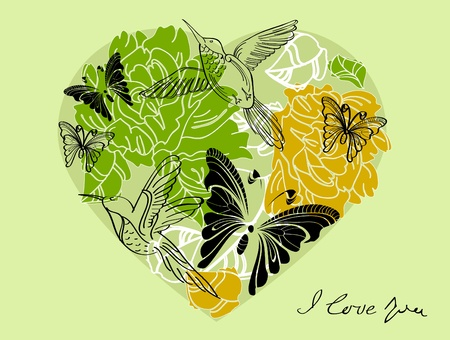 Valentine hand drawing green background with floral heart Vector