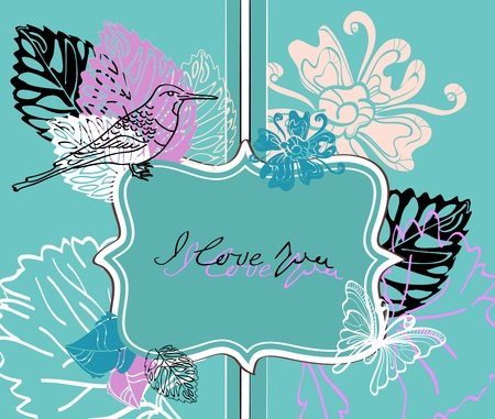 Valentine hand drawing blue background with flowers Vector