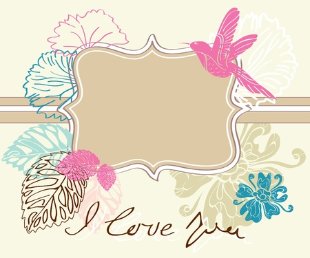 Valentine hand drawing light brown background with flowers Vector