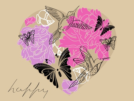 Valentine hand drawing brown and pink background with floral heart Vector