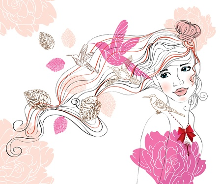 lady bird: Beautiful hand drawing background with girl and flowers