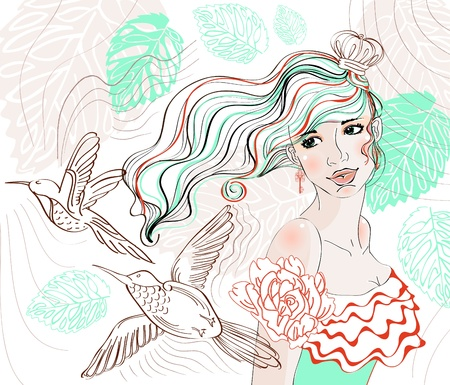 Beautiful hand drawing background with tender girl and flowers Vector