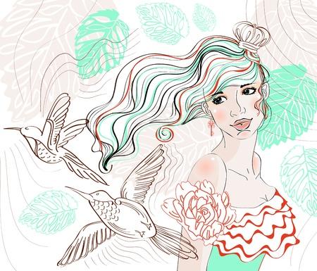 key to freedom: La mano hermosa de fondo plano con la chica tierna y flores