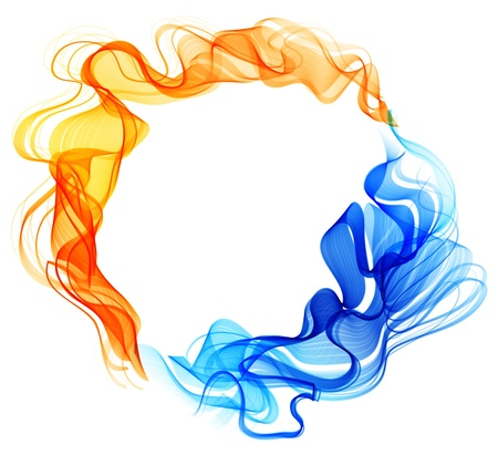 chaud froid: R�sum� de fond bleu et rouge, de glace et de feu sur fond blanc